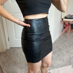Black Faux Leather MissGuided Skirt